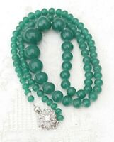 Vintage Green Faux Jade Glass Bead Single Strand Star Flower Box Clasp Necklace