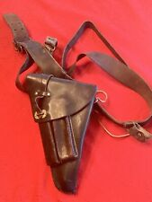 Swedish Military Lahti Pistol Holster 9mm M/40 Leather W/Belt & Shoulder Strap