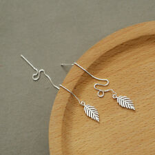 Simple Sweet 925 Sterling Silver Chain Leaf Pull Through Dangle Threader Earring