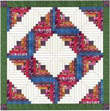 Ezy Quilt Kit/Summer Garden Log cabin Wreath/Pre-cut Fabrics Ready To Sew!***