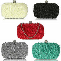 Womens Vintage Satin & Pearl Bead Art Deco Style Clutch Evening Bag BG06