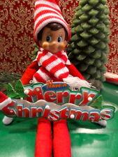 Christmas Elf Red & White Winter Hat & Scarf Set w/ Merry Christmas Sign + Bonus