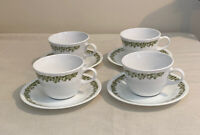4 Vintage Pyrex Corelle Saucers & Coffee Cups Green Crazy Daisy Spring Blossom