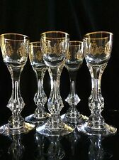 5 GOLD ENCRUSTED TIFFIN PALAIS VERSAILLES Cut Crystal Cordial Glasses