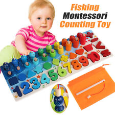 Kids Wooden Fishing Counting Montessori Math Toys Numbers Shape Educational Toys