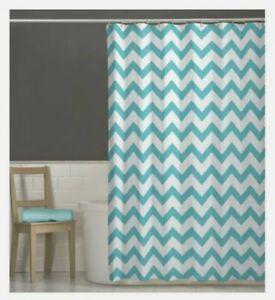 "Maytex Chevron Fabric Shower Curtain Turquoise and White 70""x72"" New"