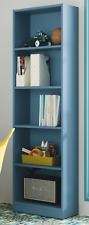 iJoy 5 Tier Shelf Bookcase Childrens Bedroom Pastel Blue Melamine