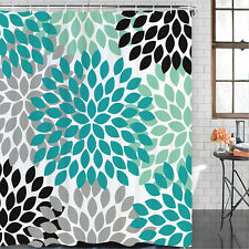 Turquoise Shower Curtain Waterproof Polyester Fabric Decorative Bathroom Curtain