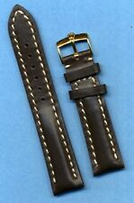 GOLD ROLEX BUCKLE &  20mm GENUINE BROWN LEATHER STRAP BAND WHITE STITCH PADDED
