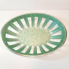 Aqua Swirl Enamel Aluminum Bowl Basket Metal Modern Style Open Cutout