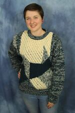 Vtg 80s 90s Clear Creek Sweater Blue Green Abstract Geometric Color Block Jumper