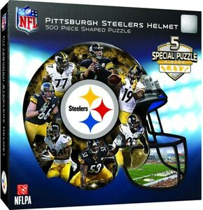 Pittsburgh Steelers 500 Piece Helmet Shaped Jigsaw Puzzle Officially Licensed