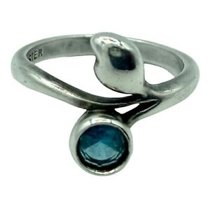 James Avery Blue Topaz Leaf Ring Retired Sterling Silver Size 5.5