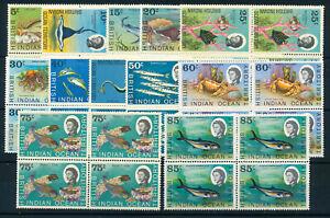 BRITISH INDIAN OCEAN TERRITORY 1968 DEFINITIVES SG16/24a BLOCKS OF 4 MNH