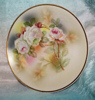 Antique Hand Painted Plate Made in Germany Porcelain Signed White Roses 8 inch