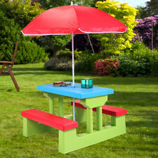 Kids Table Picnic Children Outdoor Umbrella Kid Furniture Play Set Benches Bench