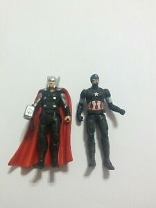 Lot Of 2 Small Marvel Avenger Toys 2 1/2 Inches Used Figures Captain America...