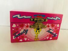 Tweety Bird Trinket Box Vintage Looney Tunes Pink Box with Hearts 1997 Tri-Star