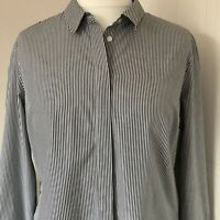 Autograph M&S Blue White Striped Long Sleeved Shirt Blouse Work Business Size 14
