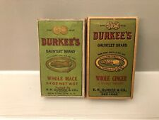 (2) Vintage E.R. Durkee & Co. Ginger  & Mace Spice Boxes Great Ad SEALED