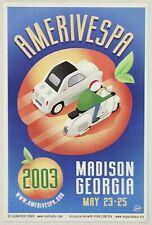 AMERIVESPA promo postcard 2003 VCoA USA scooter club rally Vespa 400 microcar
