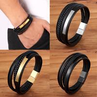 """DG Men Stainless Steel 8.5"""" Black Braided Leather Magnetic Bracelet Handmade New"""