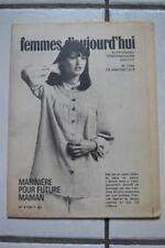 """ FEMMES D'AUJOURD'HUI "" PATRON SUPPL. N°1552 // MARINIERE PR FUTURE MAMAN T40"