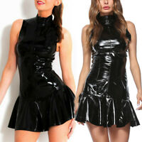 Women Gothic Wet Look Pvc Leather Dress Sleeveless Zip Mini Dress Clubwear Black