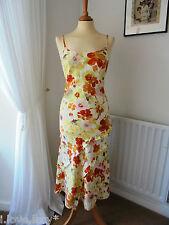 PER UNA 100% Linen Sun Dress White Orange Pink Floral Marks and Spencer UK10r