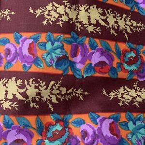 BTY KAFFE FASSETT Floral Stripe Rowan GP62 Brown Purple