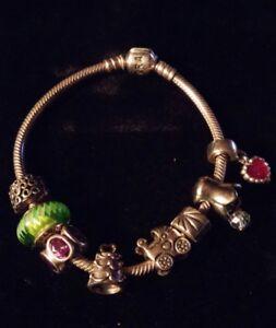 $100 SALE! Authentic PANDORA Sterling Cable Bracelet, Amethyst, 8 Charm Value