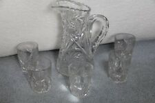 American Brilliant Cut Glass Pitcher & 5 Tumblers by Tuthill Hobstar Pattern