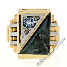 Antique Victorian Mens 10K Gold Hematite Intaglio .39ctw Diamond Aquamarine Ring