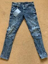 "G-Star 5620 3D Super Slim Men's Acid Wash Blue Jeans, W32"", L32"", RRP£140"