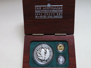 Australia.. 1990 3 coin Precious Metals Set : Silver, gold, platinum.. Proof..