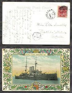 ENNISKILLEN & NESTLETON STATION 1917 Split Rings on Battleship Postcard (p01495)