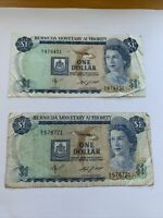 Bermuda One Dollar Note 1984 Currency, Paper Money Lot Of 2