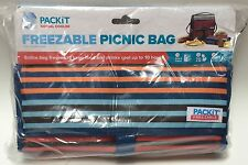 PackIt Freezable Reusable Picnic Grocery Food Bag Cools For 10 Hours Striped