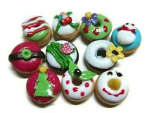 10 Loose Christmas Donut Dollhouse Miniatures Food Bakery Supply Deco Holiday