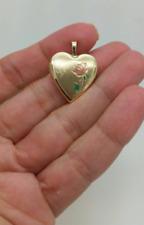 10k Solid Yellow Gold Love Heart Photo Locket