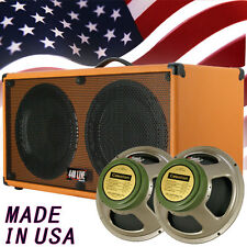 2x12 Guitar extension Spker Cabinet Orange Tolex W/Celestion Green Back speakers