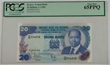 1.1.1982 Kenya Central Bank 20 Schillings Note SCWPM# 21b PCGS 65 PPQ Gem New