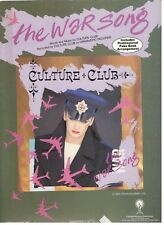 "CULTURE CLUB ""THE WAR SONG"" SHEET MUSIC-1984-EXTREMELY RARE-BOY GEORGE-ON SALE!!"