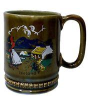 Vintage Wade Irish Porcelain Shamrock Mug Made in Ireland Green Country Scene