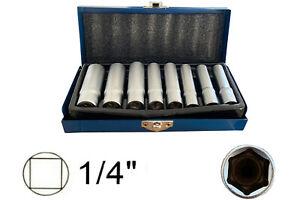 Set chiavi a bussola lunghe esagonali 6-13mm con attacco 1/4 Tekno Power 8pz