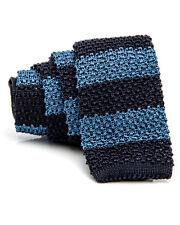 Ermenegildo Zegna Knit Tie 100% Silk Made in Italy Classic Navy Light Blue