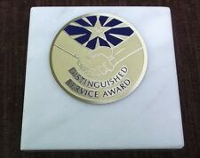 distinguished service award  paperweight marble award metal insert personalized