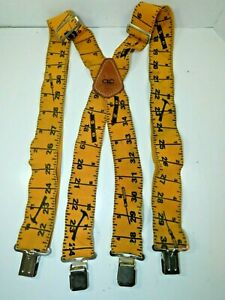 CUSTOM LEATHER CRAFT Carpenters Tape Measure Suspenders Yellow Metal Clip On