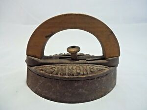 Vintage Simmons Special Sad Iron with Removable Wood Wooden Handle Antique EUC