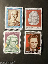 HONGRIE HUNGARY, LOT 4 timbres THEME CELEBRITY, oblitérés, VF used STAMPS